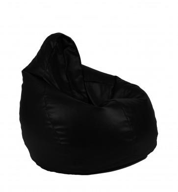 Fotoliu Puf tip Sac Nirvana Hobbit - Panama Black (pretabil si la exterior) umplut cu perle polistiren