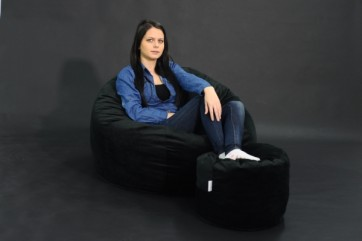 Set Fotoliu Puf Matusalem + Otoman - Black Velvet (Gama Plush Honey) umplut cu fulgi de burete memory mix®