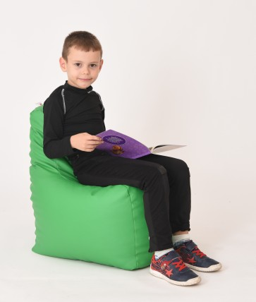 Fotoliu Puf tip Scaun pentru copii (2-8 ani) Sunlounger Junior - Verde (piele eco) umplut cu perle polistiren