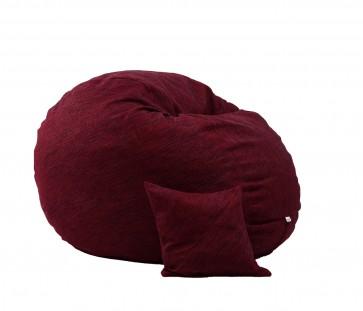 Fotoliu Pufrelax King Size + Perna decorativa - Red Wine (Gama Premium Rustic) umplut cu fulgi de burete memory mix®