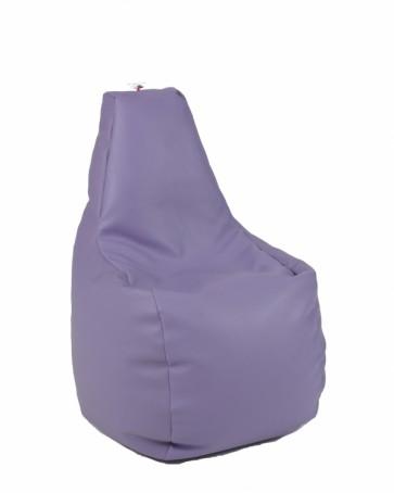 Fotoliu Puf tip Scaun pentru copii (2-8 ani) Sunlounger Junior - Violet (piele eco) umplut cu perle polistiren