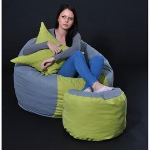 Set Fotoliu Puf Matusalem + Otoman + Perna decorativa - Green Patch (Gama Premium) umplut cu fulgi de burete memory mix®