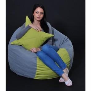 Set Fotoliu Puf Matusalem + Perna decorativa - Green Patch (Gama Premium) umplut cu fulgi de burete memory mix®