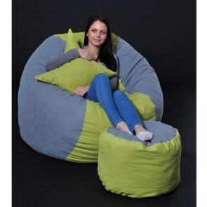 Set Fotoliu Puf King Size + Otoman + Perna decorativa - Green Patch (Gama Premium) umplut cu fulgi de burete memory mix®