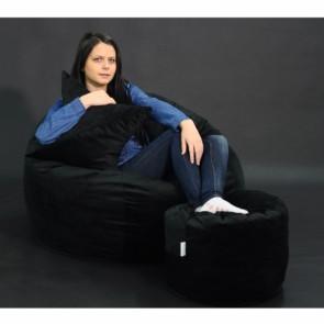 Set Fotoliu Puf Matusalem + Otoman + Perna decorativa - Black Velvet (Gama Plush Honey) umplut cu fulgi de burete memory mix®