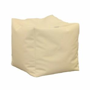 Fotoliu Taburet Cub XL - Crem (piele eco) umplut cu perle polistiren