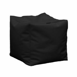 Fotoliu Taburet Cub XL - Negru (piele eco) umplut cu perle polistiren