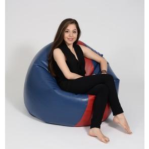 Fotoliu Beanbag Relaxo XL - Blue&Red (piele eco) umplut cu perle polistiren