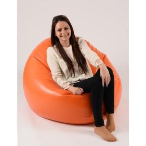 Fotoliu Beanbag Relaxo XL - Orange (piele eco) umplut cu perle polistiren