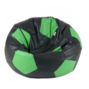 Fotoliu Puf pentru copii (3-10 ani) Minge Telstar - Junior - Black & Green (piele eco) umplut cu perle polistiren