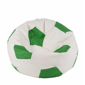 Fotoliu Puf pentru copii (3-10 ani) Minge Telstar - Junior - Green & White (piele eco) umplut cu perle polistiren