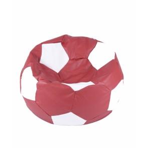 Fotoliu Puf pentru copii (3-10 ani) Minge Telstar - Junior - Red & White (piele eco) umplut cu perle polistiren