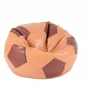 Fotoliu Puf pentru copii (3-10 ani) Minge Telstar - Junior - Caramel & Chocolate (piele eco) umplut cu perle polistiren