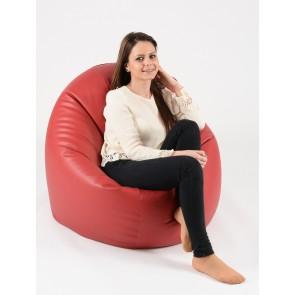 Fotoliu Beanbag Relaxo XL - Rosu (piele eco) umplut cu perle polistiren