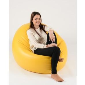 Fotoliu Beanbag Relaxo XL - Galben (piele eco) umplut cu perle polistiren