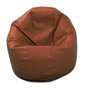 Fotoliu Puf pentru Copii (2-14 ani) Relaxo - Brown (piele eco) umplut cu perle polistiren