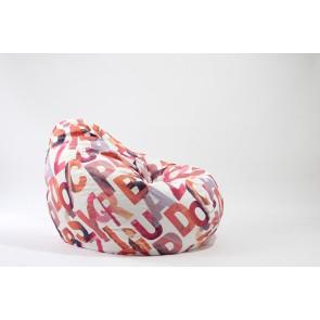 Fotoliu Pufrelax Nirvana Gigant - Scarlet Letters (Gama Premium Textil) cu husa detasabila textila, umplut cu perle polistiren