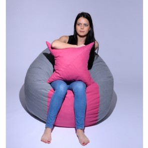 Set Fotoliu Puf Matusalem + Perna decorativa - Pink Stripe (Gama Premium) umplut cu fulgi de burete memory mix®