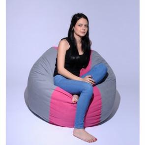 Fotoliu Pufrelax Matusalem - Pink Stripe (Gama Premium) umplut cu fulgi de burete memory mix®