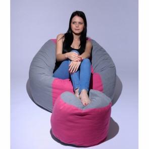 Set Fotoliu Puf Matusalem + Otoman - Pink Stripe (Gama Premium) umplut cu fulgi de burete memory mix®
