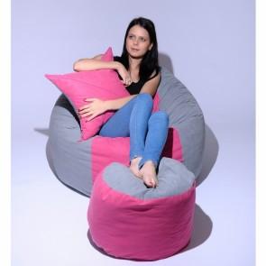 Set Fotoliu Puf Matusalem + Otoman + Perna decorativa - Pink Stripe (Gama Premium) umplut cu fulgi de burete memory mix®