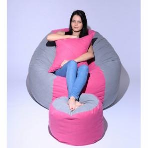 Set Fotoliu Puf King Size + Otoman + Perna decorativa - Pink Stripe (Gama Premium) umplut cu fulgi de burete memory mix®