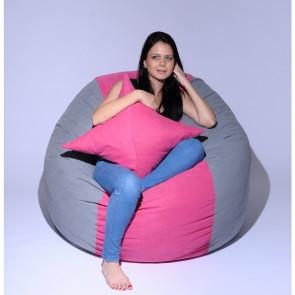 Set Fotoliu Puf King Size + Perna decorativa - Pink Stripe (Gama Premium) umplut cu fulgi de burete memory mix®