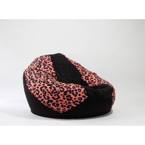 Fotoliu Pufrelax Nirvana Gigant - Flower Leopard (Gama Premium Textil) cu husa detasabila textila, umplut cu perle polistiren