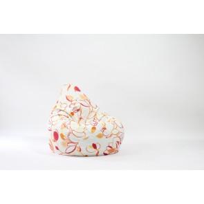 Fotoliu Puf tip Sac Nirvana Hobbit - Lively Blossom (Gama Premium Textil) cu husa detasabila textila, umplut cu perle polistiren