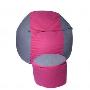 Set Fotoliu Puf pentru Copii (5-16 ani) Matusalem + Otoman - Pink Stripe (Gama Premium) umplut cu fulgi de burete memory mix®