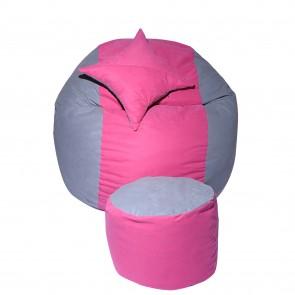 Set Fotoliu Puf pentru copii (5-16 ani) Matusalem + Otoman + Perna decorativa - Pink Stripe (Gama Premium) umplut cu fulgi de burete memory mix®