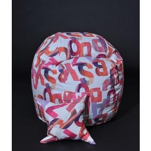 Set Fotoliu Puf pentru Copii (5-16 ani) Matusalem + Perna decorativa - Scarlet Letters (Gama Premium) umplut cu fulgi de burete memory mix®