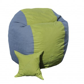 Set Fotoliu Puf pentru Copii (5-16 ani) Matusalem + Perna decorativa - Green Patch (Gama Premium) umplut cu fulgi de burete memory mix®