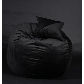 Set Fotoliu Puf pentru Copii (5-16 ani) Matusalem + Perna decorativa - Black Velvet (Gama Diamond) umplut cu fulgi de burete memory mix®