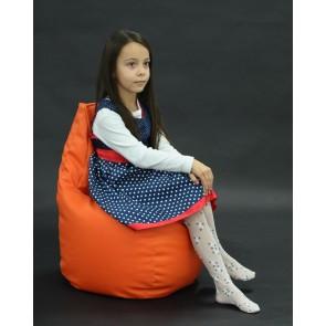 Fotoliu Puf tip Scaun pentru copii (2-8 ani) Sunlounger Junior - Orange (piele ecologica) umplut cu perle polistiren