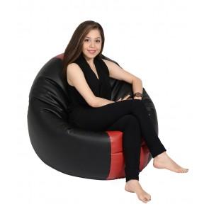 Fotoliu Beanbag Relaxo XL - Black&Red (piele eco) umplut cu perle polistiren