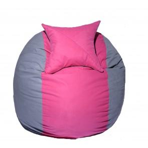 Set Fotoliu Puf pentru Copii (5-16 ani) Matusalem + Perna decorativa - Pink Stripe (Gama Premium) umplut cu fulgi de burete memory mix®