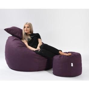 Set Fotoliu Puf Matusalem + Otoman + Perna decorativa - Fancy Purple (Gama Premium Textil) umplut cu fulgi de burete memory mix®