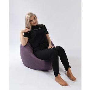 Fotoliu Pufrelax Relaxo - Magnetic Ink (Gama Premium Textil) cu husa detasabila textila, umplut cu perle polistiren