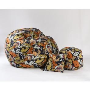 Fotoliu Pufrelax King Size + Otoman + Perna decorativa - Fantasy (Gama Premium) umplut cu fulgi de burete memory mix®