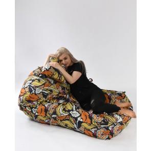 Fotoliu Pufrelax Yoga XL + Perna - Fantasy (Gama Premium Textil) umplut cu fulgi de burete memory mix