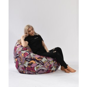Fotoliu Pufrelax Nirvana Grande - Flower Power (Gama Premium) cu husa detasabila textila, umplut cu perle polistiren