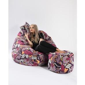 Fotoliu Pufrelax King Size + Otoman + Perna decorativa - Flower Power (Gama Premium) umplut cu fulgi de burete memory mix®