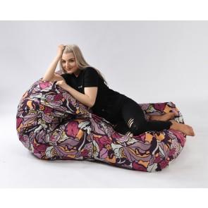 Fotoliu Pufrelax Yoga XL - Flower Power (Gama Premium Textil) umplut cu fulgi de burete memory mix