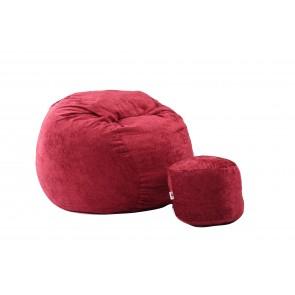 Fotoliu Pufrelax King Size XL cu Otoman, Sour Cherry (Gama Premium Rustic) umplut cu fulgi de burete memory mix