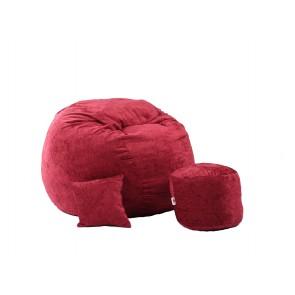 Fotoliu Pufrelax King Size XL,Otoman cu Perna decorativa, Sour Cherry (Gama Premium Rustic) umplut cu fulgi de burete memory mix