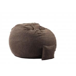 Fotoliu Pufrelax King Size XL cu Perna decorativa, Mocha Latte (Gama Premium Textil) umplut cu fulgi de burete memory mix
