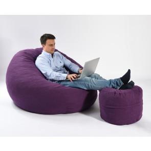 Fotoliu Pufrelax King Size + Otoman - Mulberry (Gama Premium Textil) umplut cu fulgi de burete memory mix®