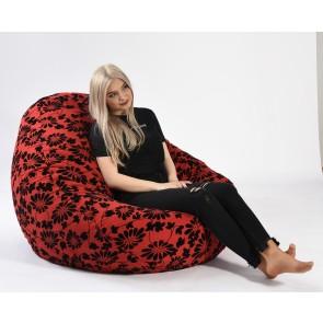 Fotoliu PufRelax Nirvana Gigant - Poppy (Gama Premium Textil) cu husa detasabila textila, umplut cu perle polistiren