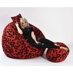 Fotoliu Pufrelax King Size + Otoman + Perna decorativa - Poppy (Gama Premium Textil) umplut cu fulgi de burete memory mix®